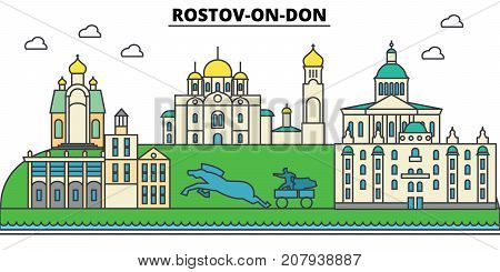 Russia, Rostov On Don. City skyline, architecture, buildings, streets, silhouette, landscape, panorama, landmarks. Editable strokes. Flat design line vector illustration concept. Isolated icons
