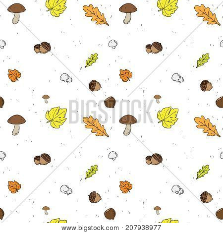 Seamless vector Background with Fall leaves. fruits and Mushrooms.