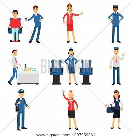 Pilot and stewardess at work during the flight set, airline working process vector Illustrations on a white background