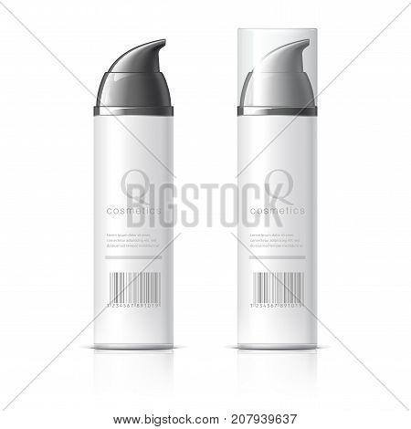 Realistic White Shaving Foam Aerosol. Cosmetics bottle can Spray, Deodorant, Air Freshener. With lid. Object, shadow, and reflection on separate layers. Vector illustration