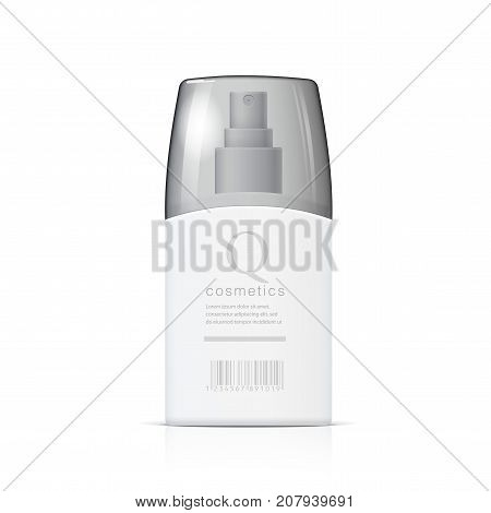 Realistic Cosmetic bottle can sprayer container. Dispenser for cream, soups, and other cosmetics With transparent lid. Template For Mock up for brand template. vector illustration.
