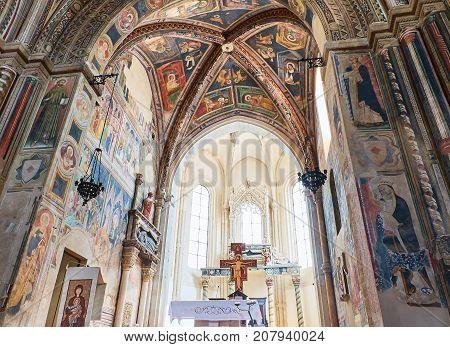 Galatina Italy - August 15, 2017. Chancel of Basilica di Santa Caterina of Alessandria. Galatina Apulia Italy.