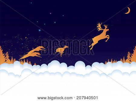 vector New Year 2018 background with reindeer and dogs