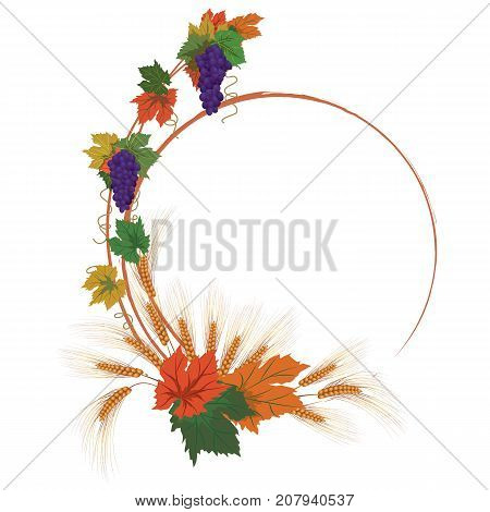 vector autumnal frame with grapes and ears