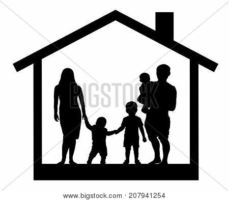 House big family silhouette vector (three children, man and woman)