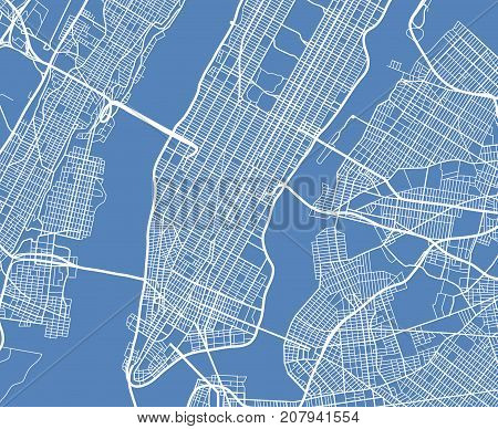 Aerial view USA New York city vector street map. City street aerial map new york illustration