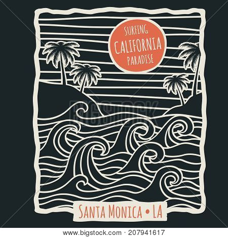 Retro california summer beach surf vector t shirt vector design with palm trees and ocean waves. Surfing beach vintage illustration