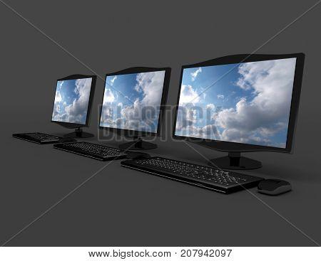 3D Desktop Pc Concept . 3D Rendered Illustration