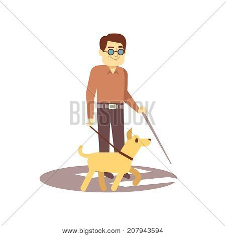 Dog companion and blind man on walk isolated on white background - blind person and guide dog. Vector pet companion and blind man person illustration