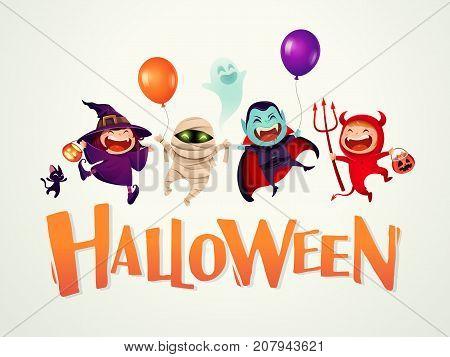 Happy Halloween! Halloween Kids Costume Party. Group of kids in Halloween costume.