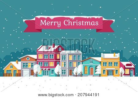Christmas holiday vector greeting card with winter cityscape in snow. Christmas town building, cityscape winter illustration