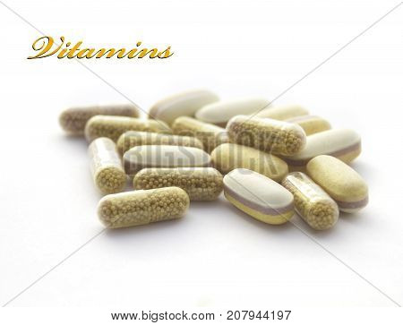 Healthcare concept : vitamines isolated on white