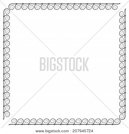 Frame black. Decoration concept. Border from waves. Monochrome framework isolated on white background. Modern art scoreboard. Decoration banner rim. Stock vector illustration