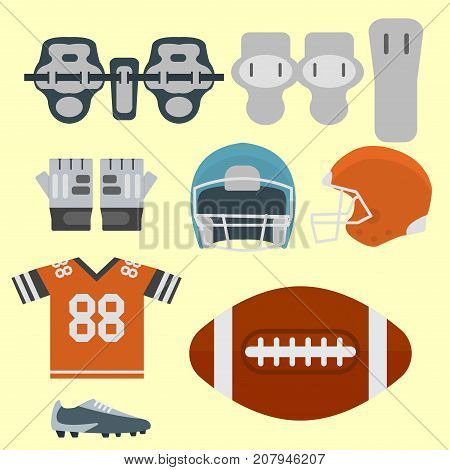 American football player uniform sport game icons vector cartoon style quarterback jumping success usa athlete. Professional competition floodlit challenge culture fitness.