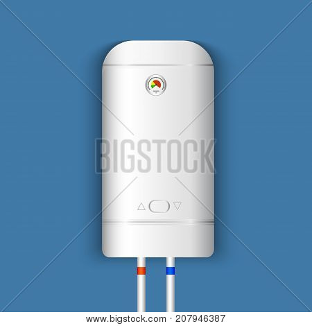 White gas boiler electric water heater with controller and indicator of the heating water on blue background. Vector illustration