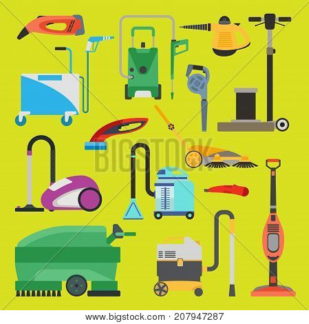 Professional cleaning equipment isolated. Vector service housework tools. Room floor hygiene product disinfect chemical washing.