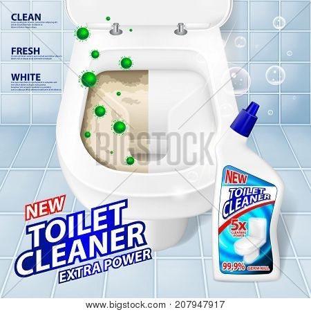 Toilet banner ads, effect of cleaner before and after. Green virus escaping from shining toilet bowl. Detergent cleaner gel in bottle mockup. 3d Vector illustration EPS 10