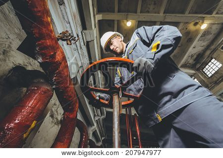 power station worker heating factory energy vent