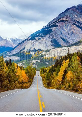Powerful granite Rockies of Canada. The road 93