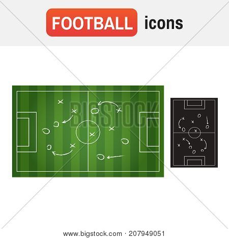 Soccer Board Tactic. Realistic Blackboard Drawing A Soccer Or Football Game Strategy