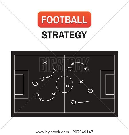 Soccer Plan Strategy. Football Or Soccer Game Strategy Plan Isolated On Blackboard Texture With Chal