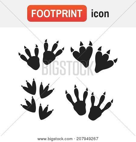 Dinosaur Footprint Vector. Dinosaur Footprint Tracks Vector Set Illustration