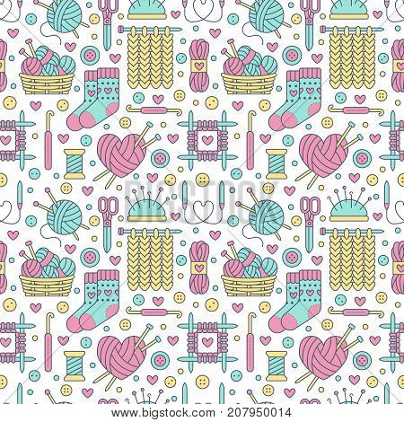 Knitting, crochet seamless pattern. Cute vector flat line illustration of hand made equipment knitting needle, hook, wool, cotton skeins. Colored background for yarn tailor store. Knitted with love.