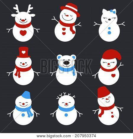 Set Of Winter Holidays Snowman.
