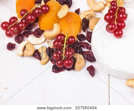 Soft cheese cashew nutsred currants dryed apricots and cranberries on white wooden background. Selective focus.