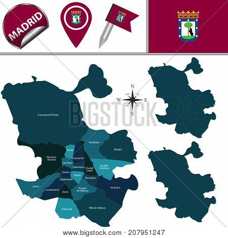 Map Of Madrid With Districts