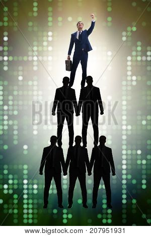 Businessman at the top of organisation chart