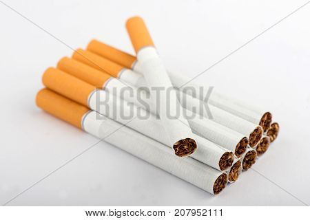 cigarette, cigarette on white background, pack of cigarettes, close-up of a cigarette