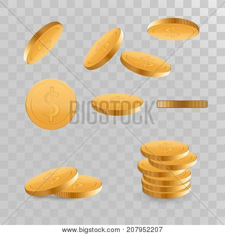 Set Realistic Gold coins explosion. Isolated on transparent background.