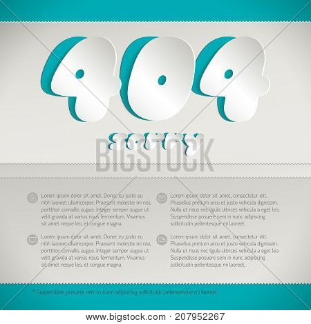 Page not found 404 error design concept for website infographics with sorry text flat vector illustration