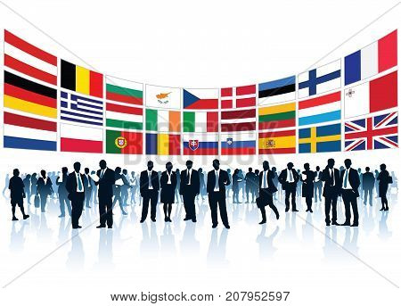 Crowd of businesspeople is standing in front of national flags of European countries.