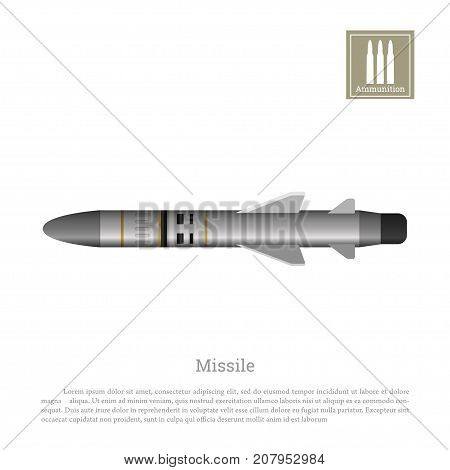 Rocket drawing on a white background. Ballistic missile icon. Vector illustration