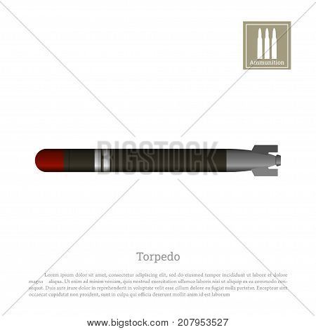Torpedo drawing on a white background. Warship weapon icon. Navy ammunition. Vector illustration