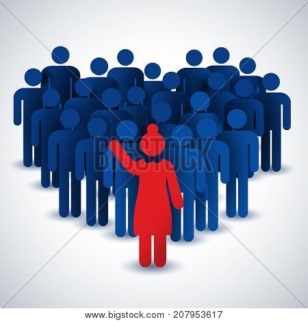 Business people concept in blue and red color with collective and female chief on white background flat vector illustration