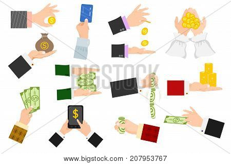 Businessman human hands arm holding paper money stack vector illustration isolated finance concept. Financial rich people body part. Success banknote currency cash.
