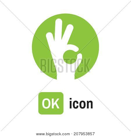 Ok Icon Hand. Ok Vector Illustration Sign
