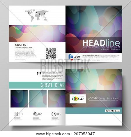 Business templates for bi fold square brochure, magazine, flyer, annual report. Leaflet cover, flat style vector layout. Bright color pattern, colorful design with shapes forming abstract background
