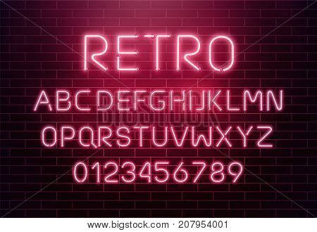 Light neon font letter set. Bar sign vector type. Glowing casino and cinema red text alphabet. Retro.