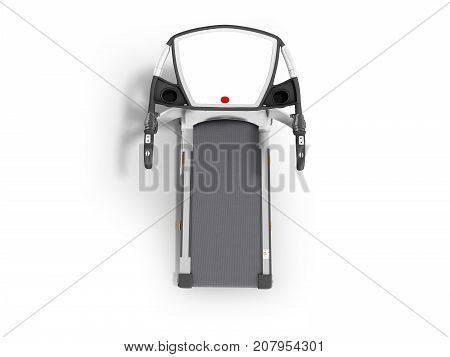 Modern Sports Treadmill On Top Gray With Black Metal 3D Render On White Background