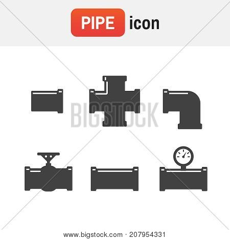 Pipe Vector Fitting. Pipe Fittings Vector Icons Set. Tube Industry, Construction Pipeline, Drain Sys