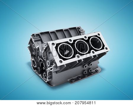 Cylinder Block From Car With V6 Engine 3D Render On A Blue Background