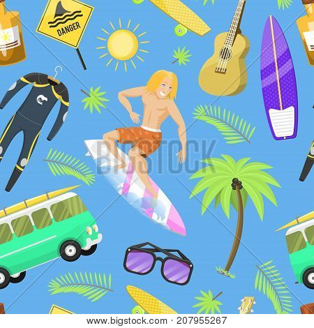 Surfing active water sport surfer summer time beach activities man windsurfing jet water wakeboarding kitesurfing vector illustration. Activity adventure action vacation. Seamless pattern background