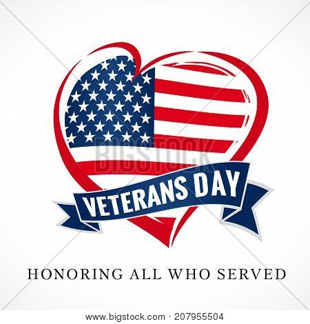 Veterans day USA heart emblem in national flag colors. Veterans day greeting card with USA heart shape design and Honoring all who served text. Vector illustration