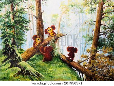 Cheburashka in Russian forest. Painting - caricature