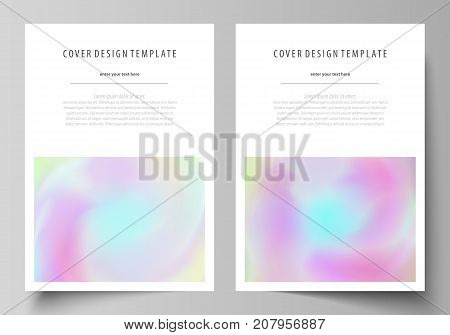 Business templates for brochure, flyer, report. Cover design template, vector layout, A4 size. Hologram, background in pastel colors, holographic effect. Blurred colorful pattern, futuristic texture