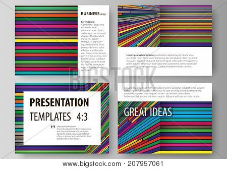Business templates for presentation slides. Easy editable abstract vector layouts in flat design. Bright color lines, colorful style with geometric shapes forming beautiful minimalist background